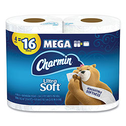 Charmin Ultra Soft Bathroom Tissue, Septic Safe, 2-Ply, White, 4 x 3.92, 264 Sheets/Roll, 4 Rolls/Pack