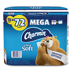 Charmin Ultra Soft Bathroom Tissue, Septic Safe, 2-Ply, White, 4 x 3.92, 264 Sheets/Roll, 18 Rolls/Carton