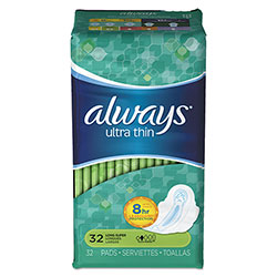 Always® Ultra Thin Pads with Wings, Super Long 10 Hour, 32/Pack, 6 Packs/Carton