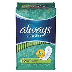 Always® Ultra Thin Pads, Super Long 10 Hour, 40/Pack, 6 Packs/Carton
