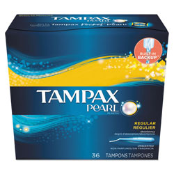 Tampax Pearl Regular Tampons, Unscented, Plastic, 36 Per Box, 12/Case, 432 Total