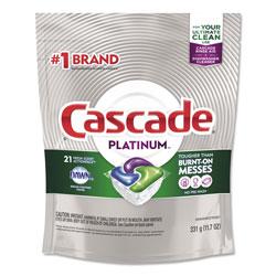 Cascade Dish Soap, Action Pacs, Platinum, Fresh Scent, 21 Per Pack, 5/Case, 105 Total