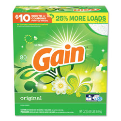 Gain Ultra Powder Laundry Detergent, High Efficiency Compatible, 91 oz. Bottle (80 loads), 3/Case, 240 Loads Total