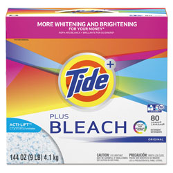 Tide Powder Laundry Detergent Plus Bleach, High Efficiency Compatible, 144 oz.Box (80 loads), 2/Case, 160 Loads Total