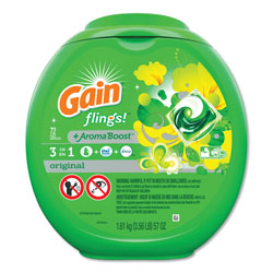 Gain Flings 3-in-1 Laundry Detergent Pods, High Efficiency Compatible, Original Scent, 72 Per Tub, 4/Case, 288 Total Total