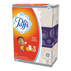 Puffs Facial Tissue, White, 3 Box Pack, 180 Sheets Per Box, 8/Case, 4320 Sheets Total