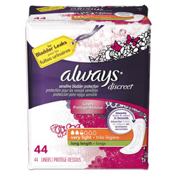 Always® Discreet Liners, Very Light, Long Length, 44 Per Box, 3/Case, 132 Total