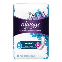 Always® Discreet Pads, Heavy, Long Length, 39 Per Box, 3/Case, 117 Total