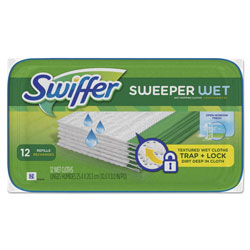 Swiffer Wet Mop Refill Cloths, Open Window, White, 8 in x 10 in, Fresh Scent, 12 Per Tub, 12/Case, 144 Cloths Total