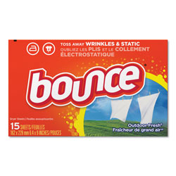 Bounce Dryer Sheets, Outdoor Fresh Scent, 15 Per Box, 15/Case, 225 Sheets Total