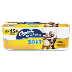 Charmin Essentials Soft Toilet Paper, White, 20 Rolls, 200 Sheets Per Roll, 4000 Sheets Total