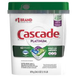 Cascade Dish Soap, Action Pacs, Platinum, Fresh Scent, 62 Per Pack, 3/Case, 186 Total