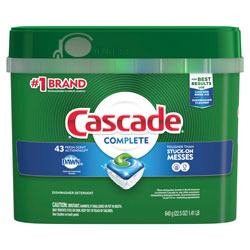 Cascade Dish Soap, Action Pacs, Complete, Fresh Scent, 43 Per Tub, 6/Case, 258 Total