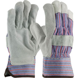 PIP Palm Safety Glove, Large, Leather, Gray/Blue