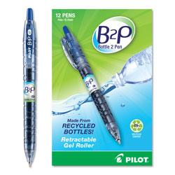 Pilot B2P Bottle-2-Pen Recycled Retractable Gel Pen, 0.7mm, Blue Ink, Translucent Blue Barrel