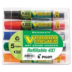 Pilot BeGreen V Board Master Dry Erase Marker, Medium Chisel Tip, Assorted Colors, 5/Pack