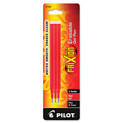 Pilot Refill for Pilot FriXion Erasable, FriXion Ball, FriXion Clicker and FriXion LX Gel Ink Pens, Fine Point, Red Ink, 3/Pack