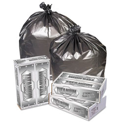 Penny Lane Titanium Low-Density Can Liners, 45 gal, 1.7 mil, 39 in x 47 in, Silver, 50/Carton