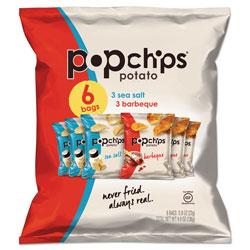 Popchips Potato Chips, BBQ/Sea Salt Flavor, 0.8 oz Bag, 6/Pack