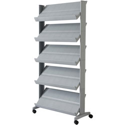 Paperflow USA Literature Display, 5-Shelf, 33-7/10 inWx15-1/5 inDx66 inH, Silver