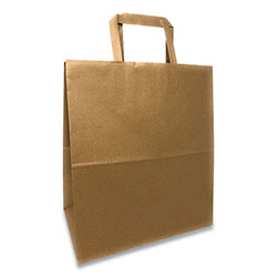 Prime Time Packaging Kraft Paper Bags, 1/7th BBL 12 x 7 x 14, Natural, 300/Bundle
