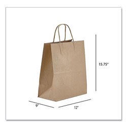 Prime Time Packaging Kraft Paper Bags, Regal, 12 x 9 x 15.75, Natural, 200/Carton