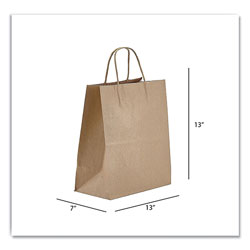 Prime Time Packaging Kraft Paper Bags, Jr. Mart, 13 x 7 x 13, Natural, 250/Carton
