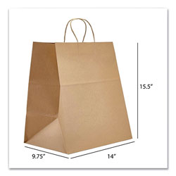 Prime Time Packaging Kraft Paper Bags, Super Royal, 14 x 9.75 x 15.5, Natural, 200/Carton