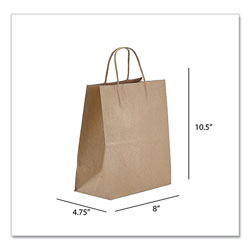 Prime Time Packaging Kraft Paper Bags, Tempo, 8 x 4.75 x 10.5, Natural, 250/Carton