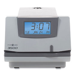 Pyramid 3500 Time Clock and Document Stamp, Light Gray/Charcoal