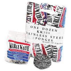 Kurly Kate Stainless Steel Scrubbers, Medium, Steel Gray, 12/Carton