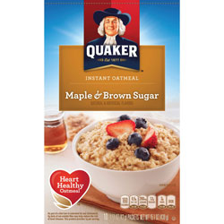 Quaker Foods Instant Oatmeal, 10 Packets/BX, Maple Brown Sugar