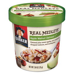 Quaker Foods Real Medleys Oatmeal, Apple Walnut Oatmeal+, 2.64 oz Cup, 12/Carton