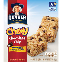 Quaker Foods Chewy Granola Bars, 6.7oz., 8/BX, Chocolate Chip
