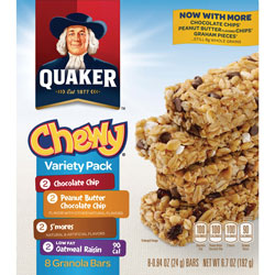 Quaker Foods Chewy Granola Bars, Variety Pack, 6.7oz., 8/BX, Assorted
