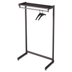 Quartet® Single-Side Garment Rack w/Shelf, Powder Coated Textured Steel, 48w x 18.5d x 61.5h, Black
