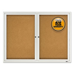 Quartet® Enclosed Cork Bulletin Board, Cork/Fiberboard, 48 in x 36 in, Silver Aluminum Frame