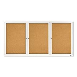 Quartet® Enclosed Bulletin Board, Natural Cork/Fiberboard, 72 x 36, Silver Aluminum Frame