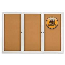 Quartet® Enclosed Bulletin Board, Natural Cork/Fiberboard, 72 x 48, Silver Aluminum Frame