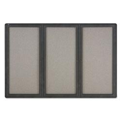 Quartet® Enclosed Fabric-Cork Board, 72 x 48, Gray Surface, Graphite Aluminum Frame