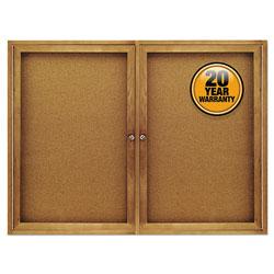 Quartet Enclosed Bulletin Board, Natural Cork/Fiberboard, 48 x 36, Oak Frame
