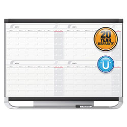 Quartet® Prestige 2 Magnetic Total Erase 4-Month Calendar, 36 x 24, Graphite Color Frame