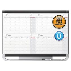 Quartet® Prestige 2 Magnetic Total Erase 4-Month Calendar, 48 x 36, Graphite Color Frame