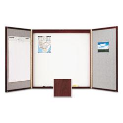 Quartet® Cabinet, Fabric/Porcelain-on-Steel, 48 x 48 x 2, Beige/White, Mahogany Frame