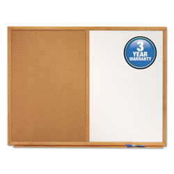 Quartet® Bulletin/Dry-Erase Board, Melamine/Cork, 36 x 24, White/Brown, Oak Finish Frame