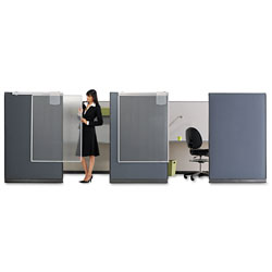 Quartet Workstation Privacy Screen, 36w x 48d, Translucent Clear/Silver