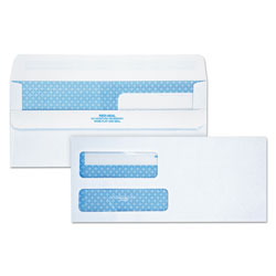 Quality Park Double Window Redi-Seal Security-Tinted Envelope, #9, Commercial Flap, Redi-Seal Closure, 3.88 x 8.88, White, 250/Carton