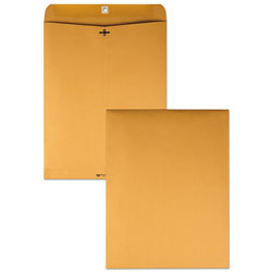 Quality Park Clasp Envelope, #110, Cheese Blade Flap, Clasp/Gummed Closure, 12 x 15.5, Brown Kraft, 100/Box