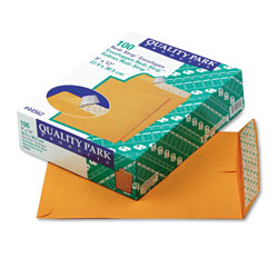 Quality Park Redi-Strip Catalog Envelope, #10 1/2, Cheese Blade Flap, Redi-Strip Closure, 9 x 12, Brown Kraft, 100/Box