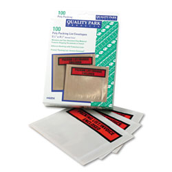 Quality Park Self-Adhesive Packing List Envelope, 4.5 x 5.5, Clear/Orange, 100/Box